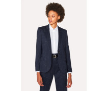 Navy Flecked Slub Wool-Blend Blazer