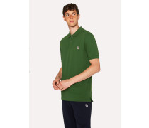 Forest Green Organic Cotton-Piqué Zebra Logo Polo Shirt