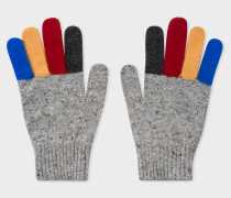 Grey Donegal Stripe Wool Gloves