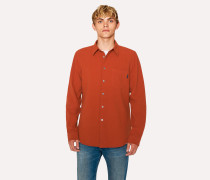 Tailored-Fit Rust Textured Cotton Shirt