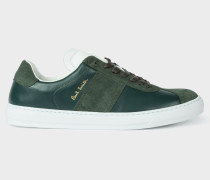 Bottle Green Leather 'Levon' Trainers