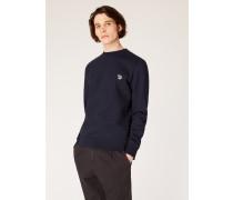 Dark Navy Organic-Cotton Zebra Logo Sweatshirt