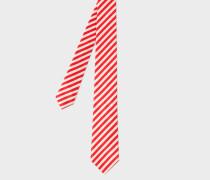 Red And White Diagonal Stripe Narrow Silk Tie