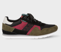 Khaki And Burgundy 'Vinny' Trainers With Suede Panels