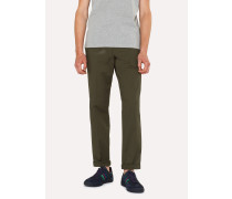 Tapered-Fit Khaki Stretch-Cotton Chinos