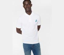 White Cotton-Piqué Embroidered 'Dino' Polo Shirt