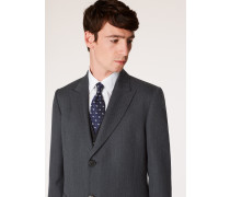 Dark Grey Herringbone Wool Peak Lapel Epsom Coat