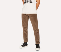 Tapered-Fit Brown Stretch-Cotton Corduroy Trousers