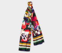 Black 'Rose Collage' Print Silk Scarf