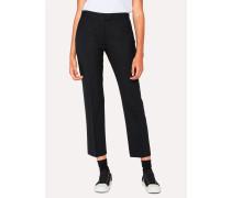 Slim-Fit Black Wool-Hopsack Trousers