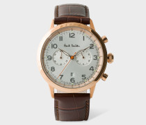 Brown And Gold 'Precision' Chronograph Watch