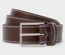 Chocolate Brown Leather 'Geometric Mini' Belt