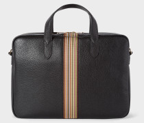 Black Signature Stripe Slim Leather Business Folio