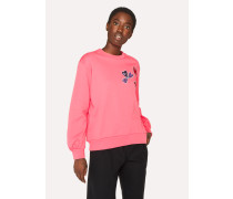 Pink Sun And Floral Embroidered Cotton Sweatshirt