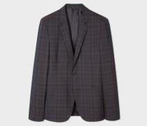Slim-Fit Tonal Check Wool Blazer
