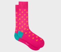 Bright Pink Polka Dot Socks