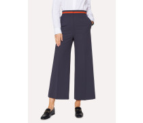 Navy Wool-Blend Wide Leg Trousers With Contrast Waistband