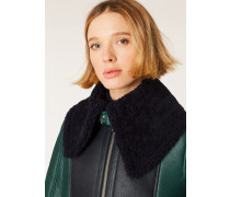 Forest Green And Navy Shearling Aviator Jacket With Bouclé Collar