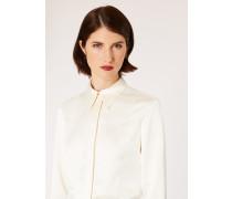 Cream Satin Panelled Tuxedo Shirt