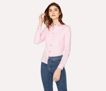 Pink Slim-Fit Stretch-Cotton Shirt With Multi-Colour Buttons