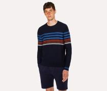 Navy Textured-Stripe Crew Neck Sweater