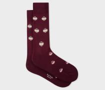 Burgundy Polka Dot Stripe Socks