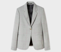 Grey Windowpane-Check Wool Blazer
