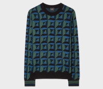 Blue And Green Geometric Merino Wool-Blend Sweater