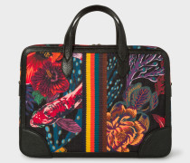 Black 'Ocean' Print Canvas Business Folio With 'Bright Stripe' Webbing