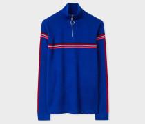 Cobalt Blue Funnel Neck Wool Half-Zip Sweater