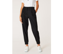 Black Wool-Hopsack Trousers With Elasticated Cuffs