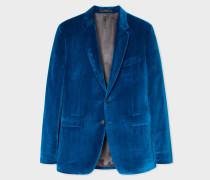 Slim-Fit Blue Velvet Blazer
