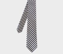Black And White Diagonal Stripe Silk Tie