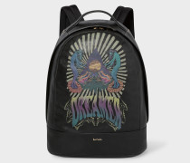 Black Leather Backpack With 'Dreamer' Print