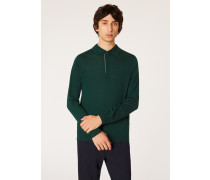 Forest Green Merino Wool Long-Sleeve Polo Shirt