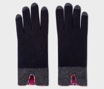 Dark Navy Wool Gloves With 'Swirl' Piping