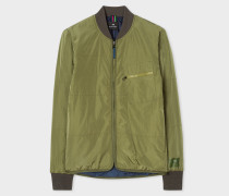 Khaki Quilted 2-In-1 Bomber Jacket Liner