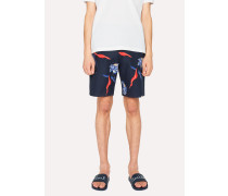 Navy 'Pacific Rose' Print Cotton And Linen-Blend Shorts