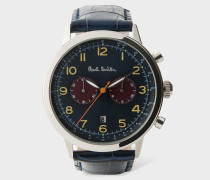 Navy And Petrol 'Precision' Chronograph Watch