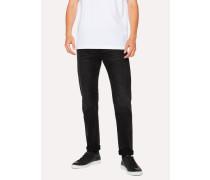 Slim-Standard 12oz Mid-Wash 'Super Black' Stretch-Cotton Jeans