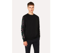 Black 'Floral Stripe' Embroidered Sweatshirt