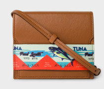 Tan Leather Cross-Body Bag With 'Tuna' Print