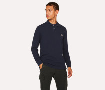 Navy Organic-Cotton Zebra Logo Long-Sleeve Polo Shirt
