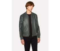 Dark Green Leather Bomber Jacket