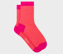 Bright Pink And Orange Dogtooth Motif Socks