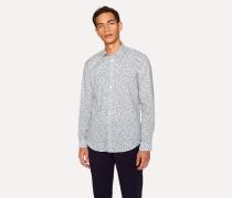 Tailored-Fit 'Dandelion' Print Cotton Contrast-Cuff Shirt