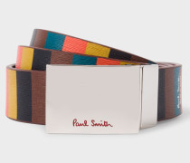 Burgundy And 'Bright Stripe' Leather Cut-To-Fit Reversible Belt
