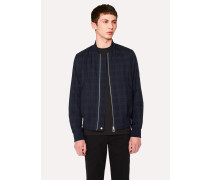 Navy Wool Check Wadded Bomber Jacket