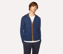 Slate Blue Wool 'Artist Stripe' Zip-Through Cardigan