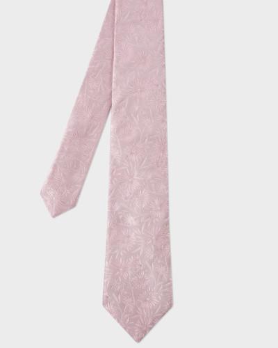Pink Textured Floral Pattern Silk Tie